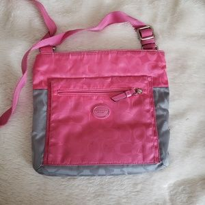 Coach pink and grey color block cross body